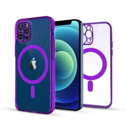 Soft TPU Gel Rubber Magnetic Case for iPhone 12 Pro - Purple