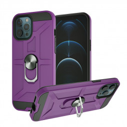 Armor Heavy Duty Dual Layer Ring Shockproof Hard Protective Case for iPhone 12 Pro Max - Purple