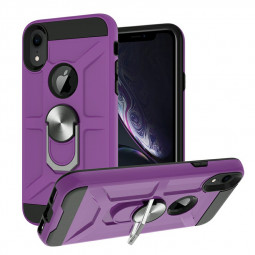 Armor Heavy Duty Dual Layer Ring Shockproof Hard Case for iPhone XR - Purple
