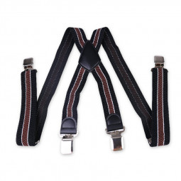 Mens 40mm High Elasticity Braces Fashion Trousers Suspenders - Brown Stripes
