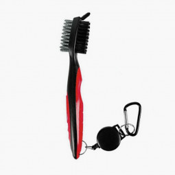 Golf Club Cleaning Tool Groove Brush Cleaner Hook to Bag for Iron Wood Clubs - Red