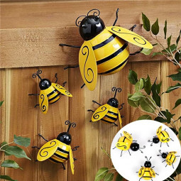 4 pcs Decorative Metal Art Bumble Bee Backyard Garden Accents Wall Ornament