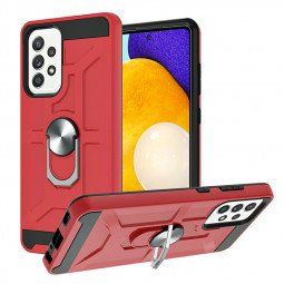 Dual Layer Ring Shockproof Armor Hard Case for Samsung Galaxy A52 5G 4G - Red