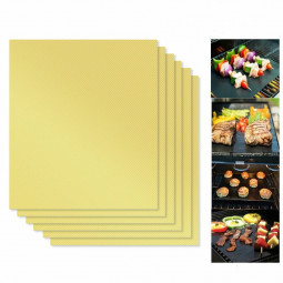 5 pcs Teflon Non Stick Oven Liner BBQ Grill Mat for Fan Assisted Ovens - Gold