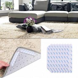 8 pcs Anti Slip Soft Mat Rug Carpet Anti Curling Rug Grippers Tape Floor Stickers - White