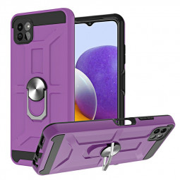 Dual Layer Ring Shockproof Armor Hard Case for Samsung Galaxy A22 5G - Purple