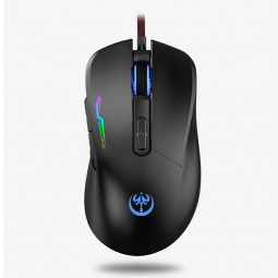 GM90 3200 DPI RGB Lighting 7 Keys Computer Wired Gaming Mouse - Black