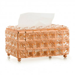 Crystal Bling Tissue Box Paper Rack Facial Case Holder Decor - Rose Gold