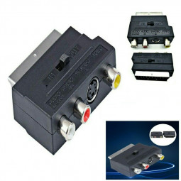RGB Scart Socket to Composite 3 RCA SVHS S-Video AV TV Audio Cable Adapter