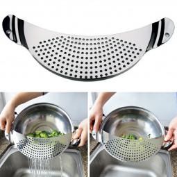 Stainless Steel Pan Drainer Pasta Vegetable Strainer Colander Sieve