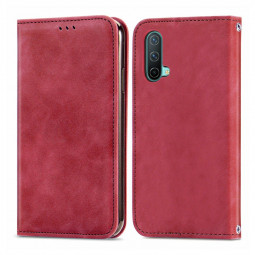 Magnetic PU Leather Wallet Case Cover for OnePlus Nord CE 5G - Red