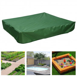 Bench Seat Sand Box Cover Sandpit Cover Oxford Waterproof Protector Square - Green