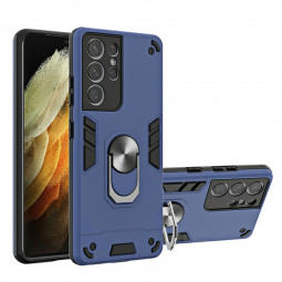 Armor Heavy Duty Dual Layer Ring Shockproof Hard Protective Case for Samsung Galaxy S21 Ultra - Blue