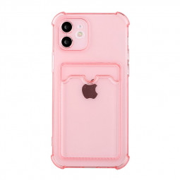 TPU Rubber Soft Skin Silicone Protective Case with Card Slot for iPhone 11 - Pink