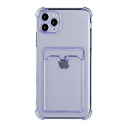TPU Rubber Soft Skin Silicone Protective Case with Card Slot for iPhone 11 Pro - Purple