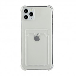 TPU Rubber Soft Skin Silicone Protective Case with Card Slot for iPhone 11 Pro Max - Clear