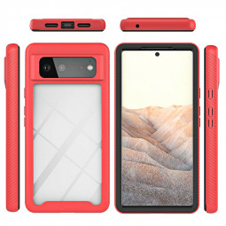 360 Full Body Slim Armor Case with Front Frame for Google Pixel 6 - Red