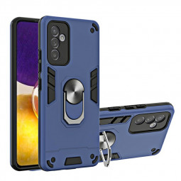Armor Heavy Duty Dual Layer Ring Shockproof Hard Protective Case for Samsung Galaxy A82 5G - Blue