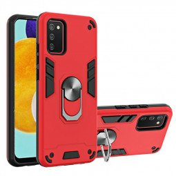 Armor Heavy Duty Dual Layer Ring Shockproof Hard Protective Case for Samsung Galaxy A03S - Red