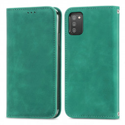 Magnetic PU Leather Wallet Case Cover for Samsung Galaxy A03S - Green