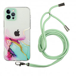 TPU Rubber Soft Skin Silicone Protective Case with Lanyard for iPhone 12 Pro - Green