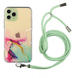TPU Rubber Soft Skin Silicone Protective Case with Lanyard for iPhone 11 Pro - Green