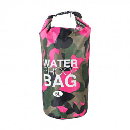 5L Waterproof Dry Bag Ultralight Camouflage Outdoor Pouch Organizer for Drifting Swimming Camping - Rose Red