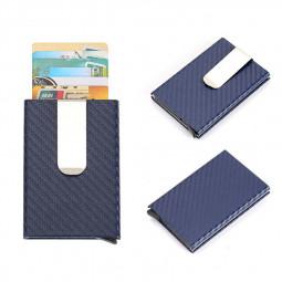 RFID Blocking Credit Card Holder Minimalist Wallet - Carbon Fiber Blue