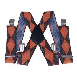 50mm Width Unisex Mens Women Braces Heavy Duty Stripes Suspenders - Brown