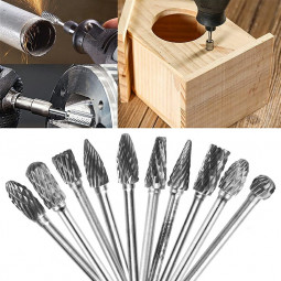 10 pcs Rotary Burr Bit Tungsten Carbide Point Die Grinder Shank Carving Set Tools