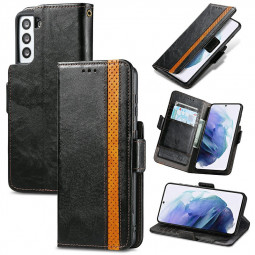 Magnetic PU Leather Wallet Card Case Cover for Samsung Galaxy S21 - Black