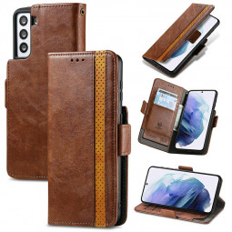 Magnetic PU Leather Wallet Card Case Cover for Samsung Galaxy S21 Plus - Brown