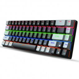 V800 68 Keys Punk Keycap RGB Lighting Effect Metal Panel Mechanical Keyboard - Black