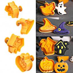 4 pcs DIY Halloween Cookies Molding Pumpkin Ghost House Witches Hat Cookie Stamp