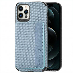 TPU and PC Back Case Fiber Pattern Card Cover for iPhone 12 Pro Max - Blue