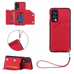 PU Leather Folio Stand Cover Wallet Card Case for OnePlus Nord 2 - Red