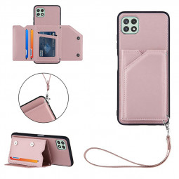 PU Leather Folio Stand Cover Wallet Card Case for Samsung Galaxy A22 5G - Rose Gold