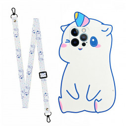TPU Rubber Soft Skin Silicone Protective Case Cartoon Phone Case with Lanyard for iPhone 12 Pro Max - Unicorn