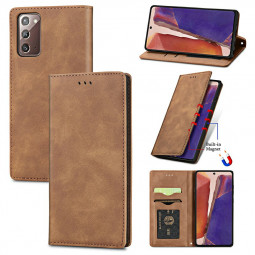 Magnetic PU Leather Wallet Case Cover for Samsung Galaxy Note 20 - Brown