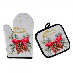 Two-piece Set of Christmas Pattern Microwave Oven Insulated Gloves - Christmas Bell