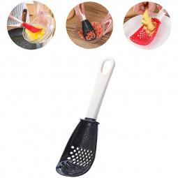 Multifunctional Kitchen Cooking Spoon for Draining Mashing Grinding Garlic Press Crusher - Black