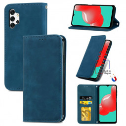 Magnetic PU Leather Wallet Card Case Cover for Samsung Galaxy A32 5G - Blue