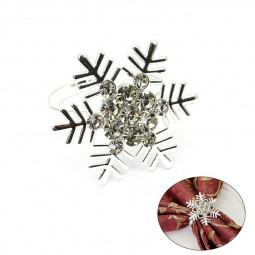 Snowflake Napkin Rings Dining Table Napkin Holders Napkin Buckles - Silver