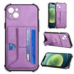 PU Leather Stand Cover Anti-drop Phone Case for iPhone 13 Mini - Purple
