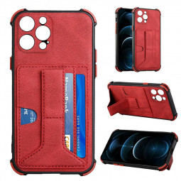 PU Leather Stand Cover Anti-drop Phone Case for iPhone 13 Pro - Red
