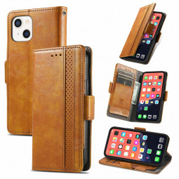 Smooth PU Leather Magnetic Wallet Card Case Cover for iPhone 13 Mini - Khaki
