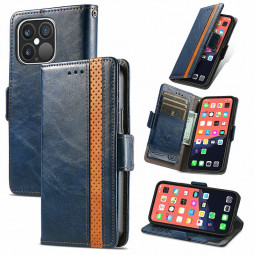 Smooth PU Leather Magnetic Wallet Card Case Cover for iPhone 13 Pro - Blue