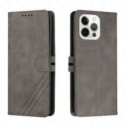 PU Leather Flip Stand Phone Cover Protective Case for iPhone 13 Pro Max - Grey