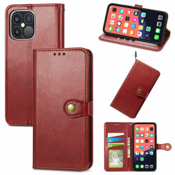 Solid Colour Folio PU Leather Case with Card Slot for iPhone 13 Pro - Red