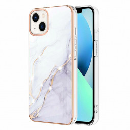 TPU Slim Phone Case Electroplated Frame Marble Pattern for iPhone 13 Mini - White